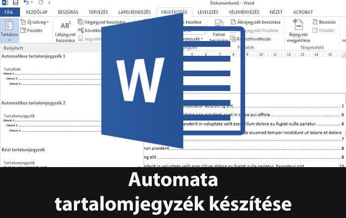 Automata tartalomjegyzék készítése Wordben